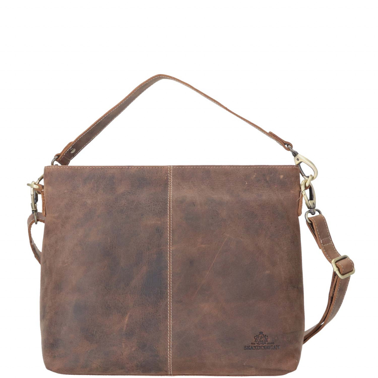 The Skandinavian Brand Damen Leder Tasche Schultertasche Hobo Handtasche braun