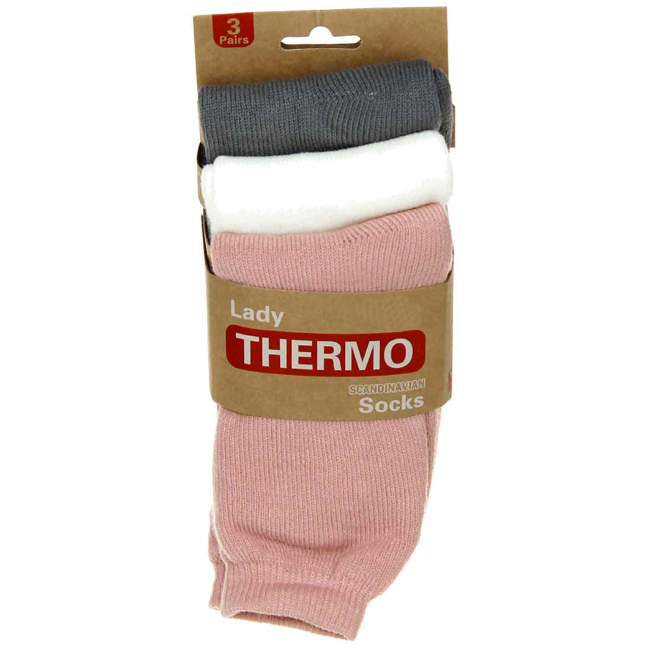 Antonio Damen Thermosocken 3er Pack 39-42 beige/rose/grau